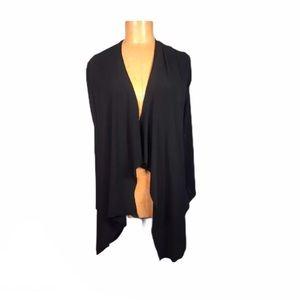 Sympli stretchy knit open cardigan asymmetrical